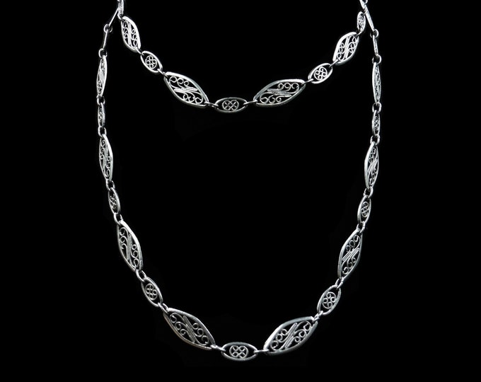 Antique Victorian Silver Fancy Filigree Link Long Guard Chain Necklace | 30""