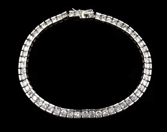 "Sterling Silver Clear Paste 8"" Fine Tennis Bracelet 