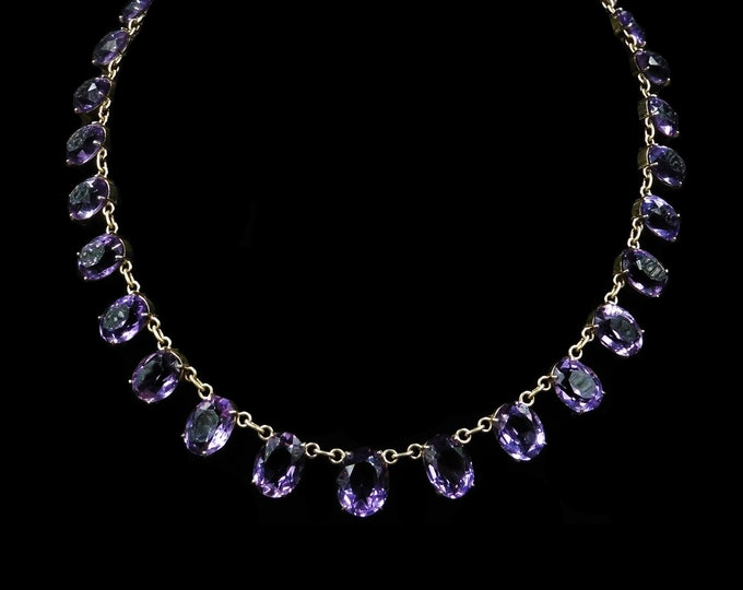 Antique Amethyst Gold on Silver Riviere Necklace Collar | 15"