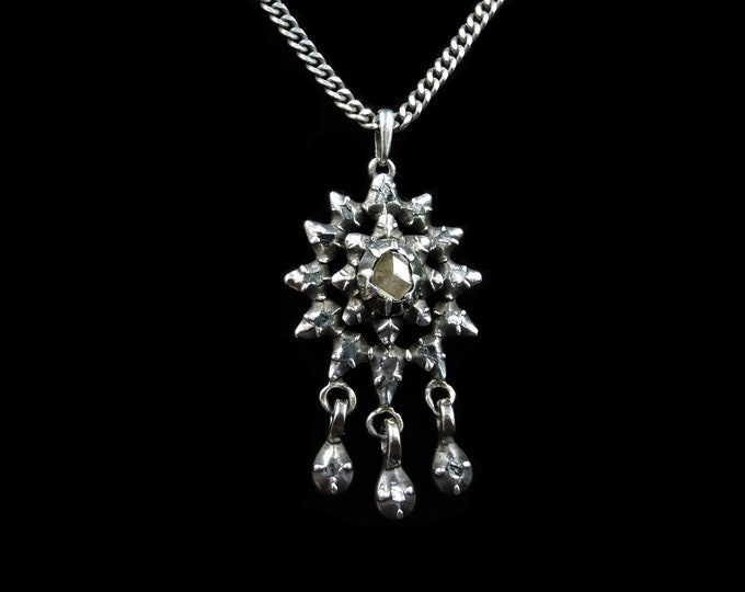 Antique Georgian Rose Cut Diamond Sterling Silver Drop Star Pendant Necklace | 20""