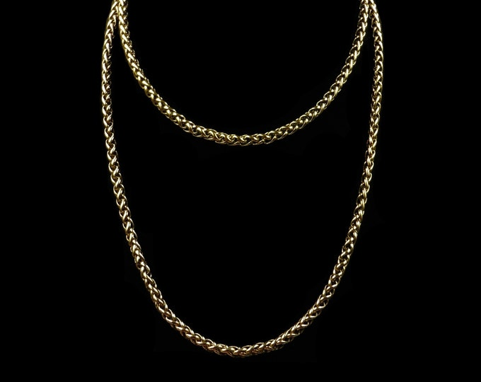 """Vintage Wheat Chain Long Gold Gilded Necklace   31"""""""