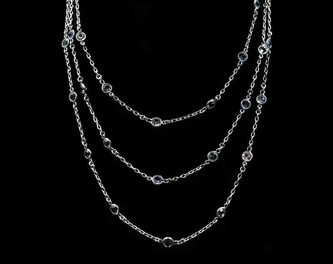 Antique Paste Long Guard Muff Chain Sterling Silver Necklace | Circa. 1900 | 48""