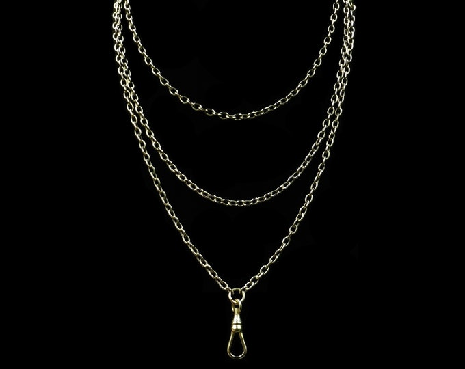 "Antique Victorian Long Belcher Guard Chain Rolled Gold Necklace | Muff Chain | 48"" Length with Dog Clip"