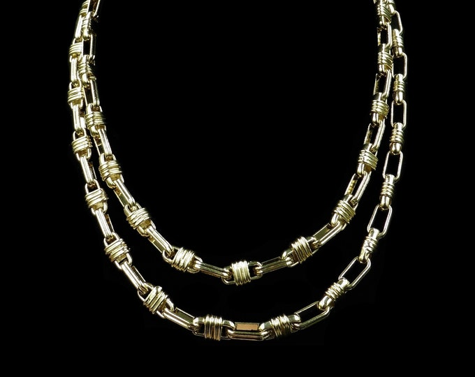 Vintage Long Fancy Chain 18ct 18K Yellow Gold Plated Necklace | Antique Style Chain | 36""