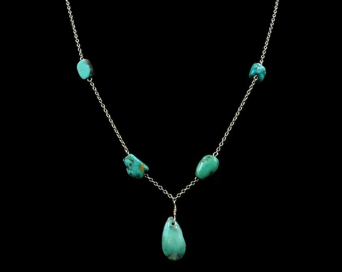 Antique Victorian Turquoise 14ct Rolled Gold Chain Necklace | Arts and Crafts C.1900