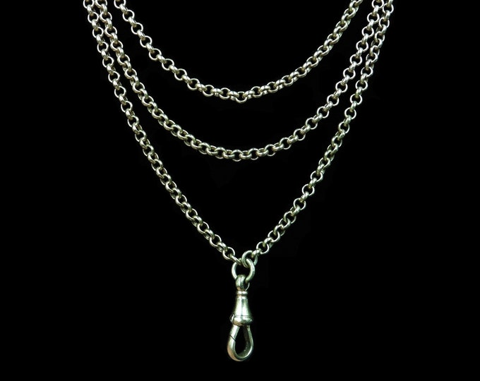 "Antique Victorian Long Belcher Rolled Gold Guard Muff Chain Necklace | 52"" Length with Dog Clip"