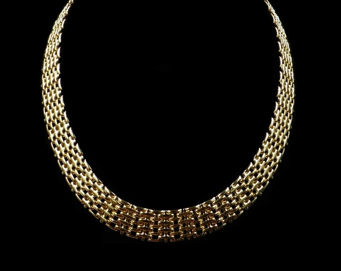 """Vintage Fancy 5 Five Bar Gate Chain Gold Gilded Necklace   Antique Style   18"""""""