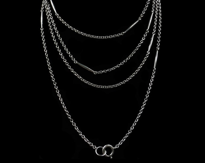 "Antique Long Fancy Guard Muff Sterling Silver Chain Necklace with Bolt ring | 56"" Length"