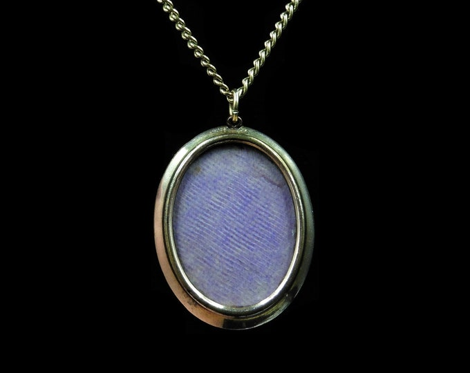 Antique Victorian Glass Oval Rolled Gold Photo Locket Pendant and Chain Necklace | Circa.1890
