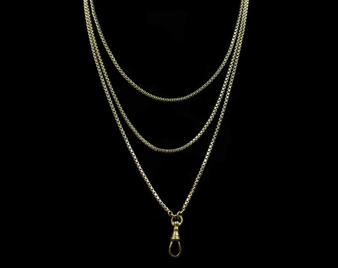 "Antique Victorian Box Belcher Long Guard Muff Chain Rolled Gold Necklace | 48"" Length with Dog Clip"