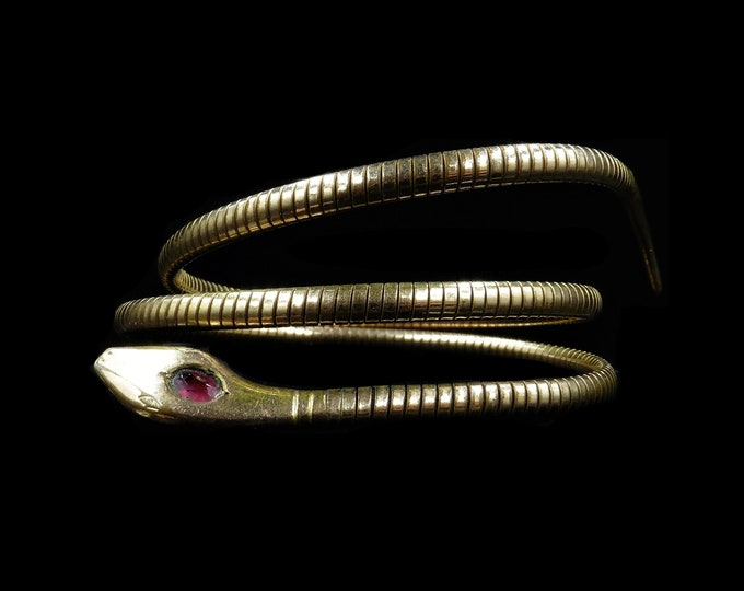 Art Deco Snake Serpent Rolled Gold Wrap Around Bangle Bracelet | Antique Circa.1925