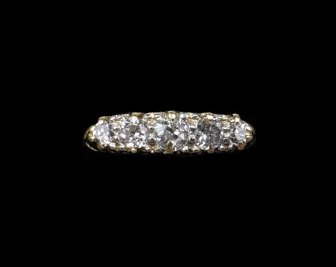 Antique Victorian Old Cut Diamond Five Stone 18K 18ct Yellow Gold Scroll Ring | Circa.1890
