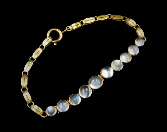 Antique Victorian Moonstone 9ct 9K Yellow Gold Bracelet | Circa. 1890 | 7""