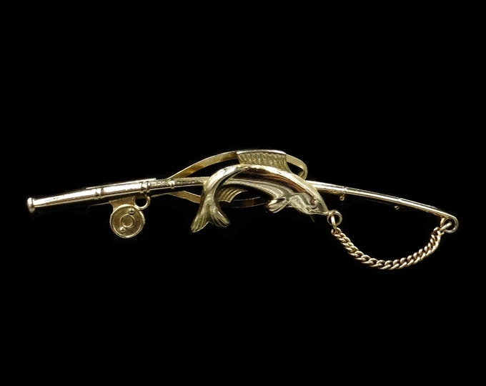 Vintage Fishing Rod Yellow Gold Gilded Tie Clip / Pin / Brooch | C.1960
