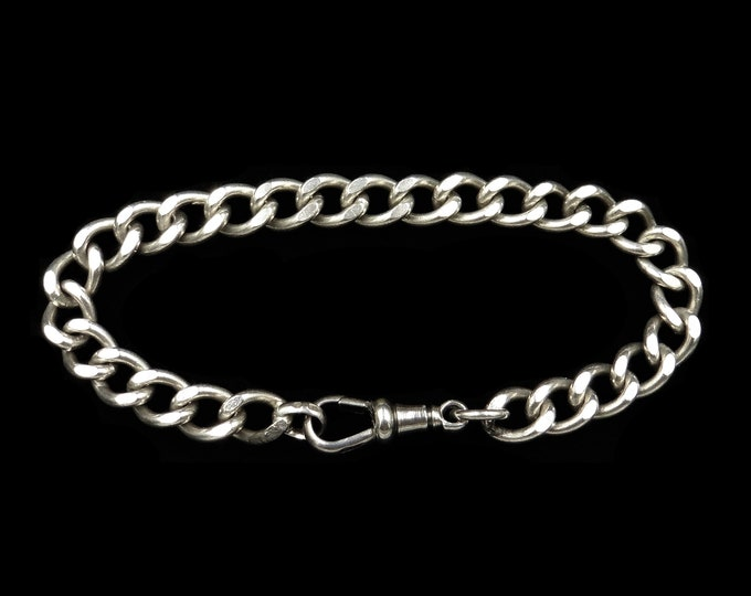 Antique Curb Sterling Silver Bracelet with Dog Clip Fastener | Victorian Edwardian | 8""
