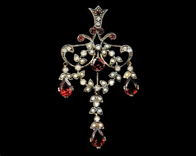 Garnet Diamond and Pearl 18ct Yellow Gold Lavalier Drop Pendant | Antique Victorian Style