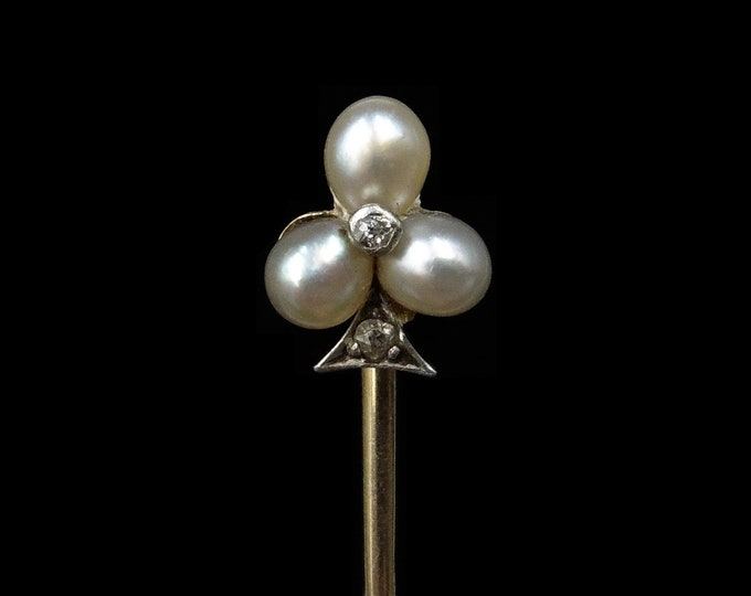 Antique Natural Pearl and Diamond Tre-Foil Shamrock 18ct 18K Yellow Gold Stick Pin | Circa.1890