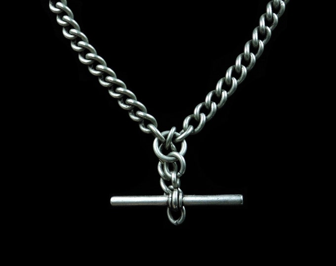 """Antique Victorian Albert Watch Chain Silver Necklace 
