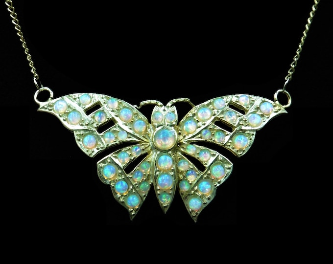Opal Gem-set Butterfly 18ct Yellow Gold Gilded Silver Pendant Necklace | Antique Victorian Style