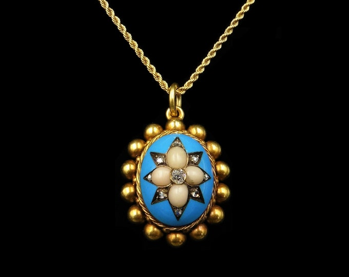 Antique Victorian Blue Enamel Coral and Diamond Star Oval 15ct 15K Gold Pendant and Chain Necklace | Circa.1880