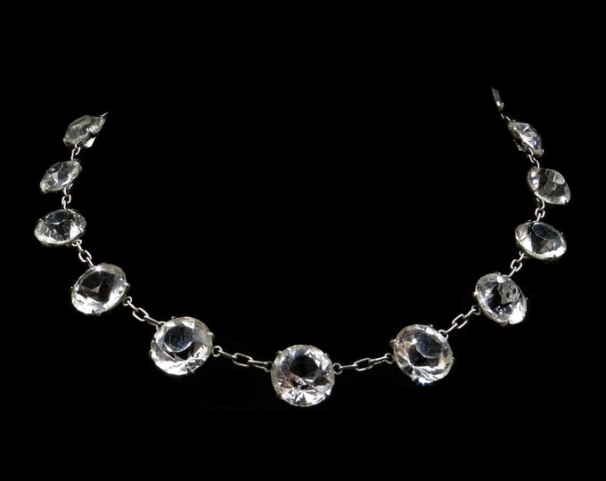 Art Deco Old Cut Paste Silver Riviere Short Necklace | Antique Circa. 1920 | 14""