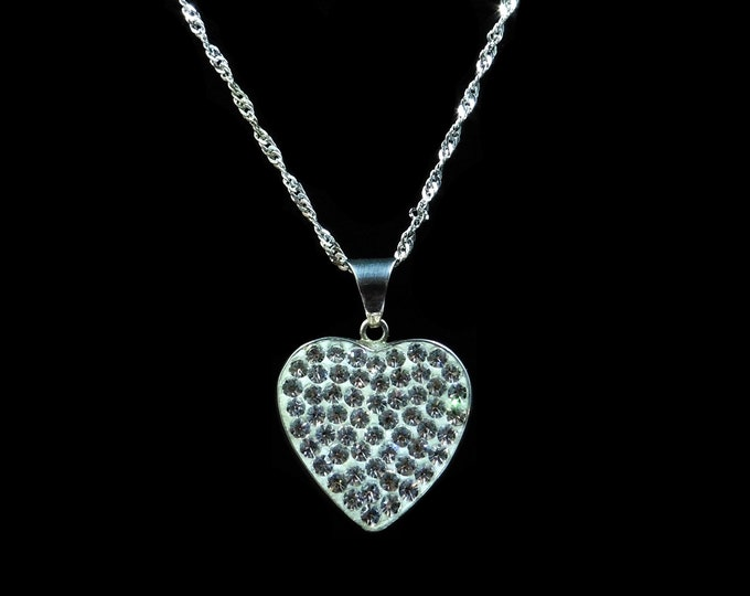 Sparkling Heart Sterling Silver Pendant and Chain Necklace | 17""