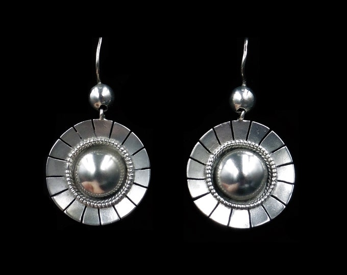 Antique Victorian Silver Round Aesthetic Target Drop Dangle Earrings   Circa.1880