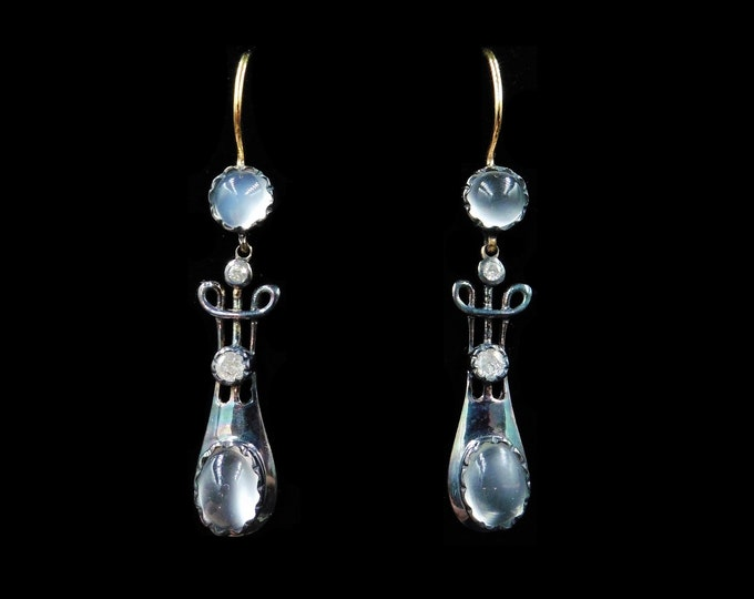 Moonstone and Diamond 18ct Yellow Gold and Silver Drop Earrings   Antique Victorian Style