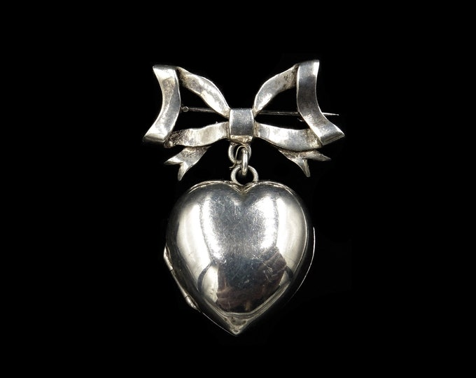 Vintage Bow Heart Locket Sterling Silver Brooch Pin | Birmingham 1995 | Antique Style
