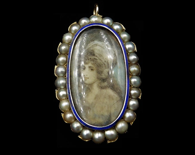 Antique Georgian Portrait Blue Enamel and Pearl Gold Large Brooch and Pendant | Circa.1790 18th Century