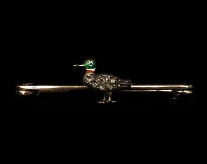 Antique Rose Cut Diamond Enamel Duck 14ct Gold Brooch Tie Pin Clip | Edwardian C.1900