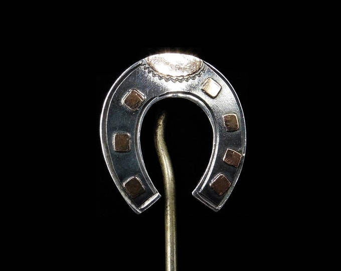 Antique Victorian Lucky Horse Shoe Sterling Silver and Rose Gold Stick Pin Brooch | Circa.1880