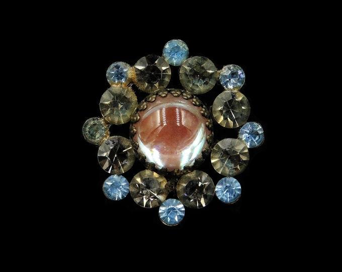 Antique Victorian Saphiret and Paste Round Brooch Pin | Cabochon Saphiret c.1900