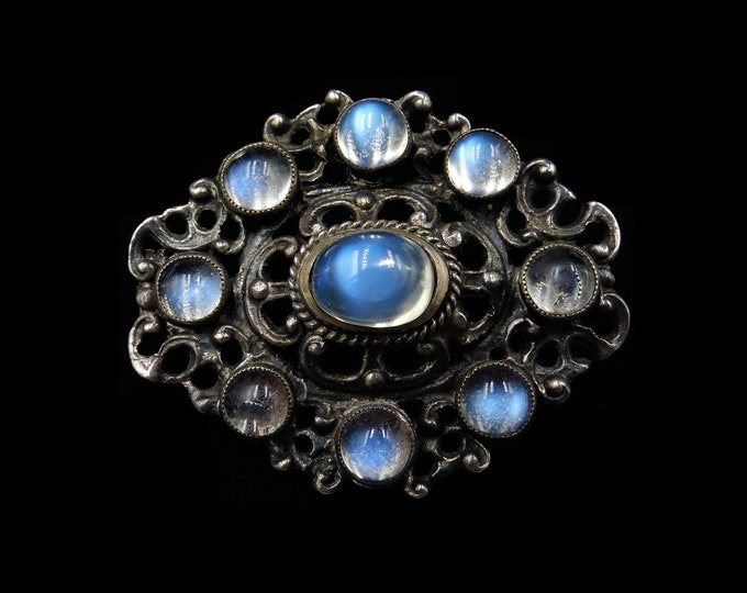 Antique Victorian Moonstone Sterling Silver Oval Brooch Pin | Austro Hungarian | Circa. 1880
