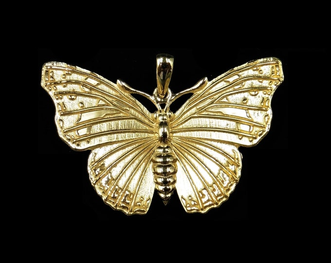 18ct Yellow Gold Gilded Admiral Butterfly Insect Bug Drop Pendant | Victorian Style Butterfly