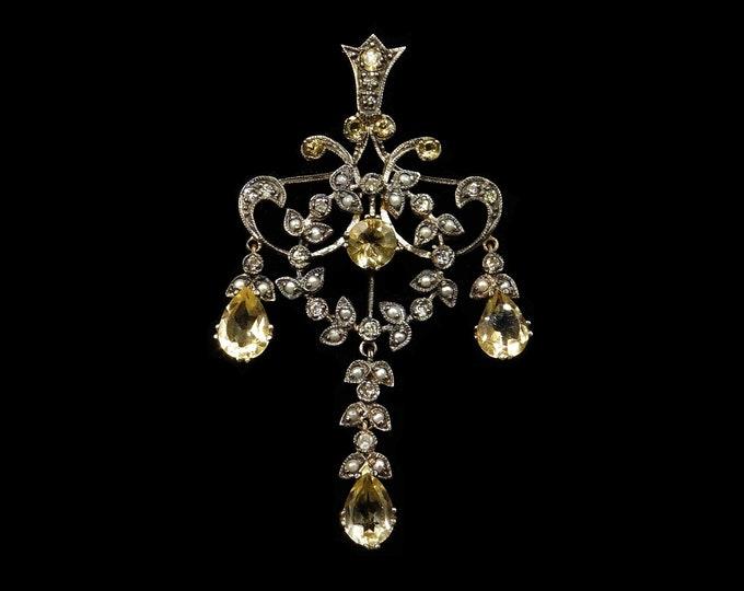 Citrine and Diamond 18ct 18K Gold Lavalier Drop Pendant | Antique Style