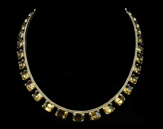 """Art Deco Gold Paste Short Riviere Gold Gilded Necklace   15""""   Circa.1920"""