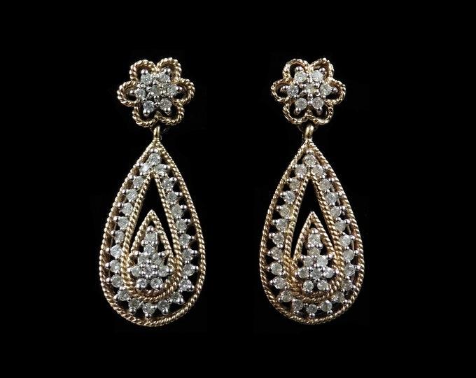 Diamond Cluster Oval Drop Dangle 9ct 9K Rose Gold Earrings | Vintage
