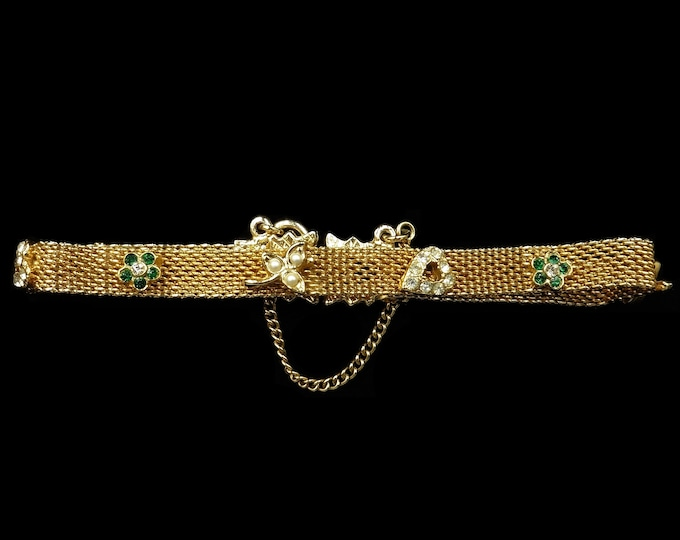 Vintage Embellished Pearl and Paste Mesh Yellow Gold Gilded Bracelet | C.1970