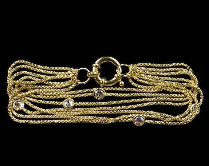 """18ct Yellow Gold on Sterling Silver Multi Strand Fancy Chain Bracelet with Bolt Ring   7"""""""