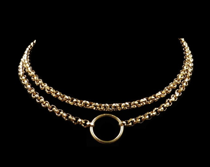 Antique Victorian Fancy 18ct 18K Gold Filled Belcher Chain Necklace with Split Ring | 26""