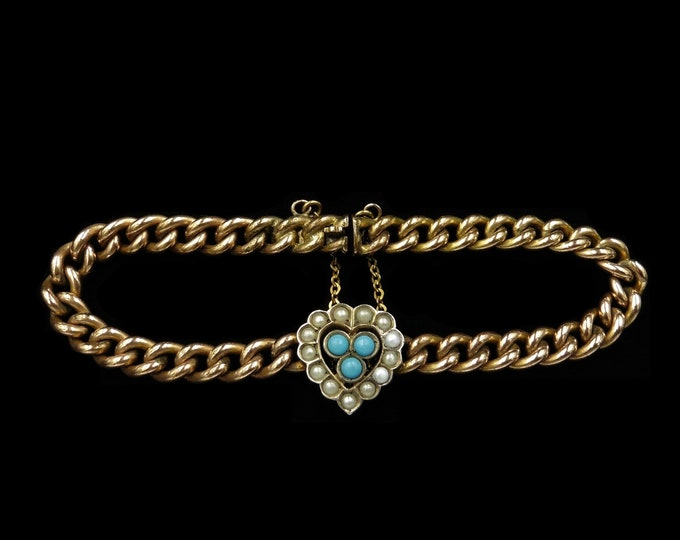 Antique Victorian Turquoise and Pearl Heart Curb 18ct Rolled Gold Bracelet | Victorian c.1890