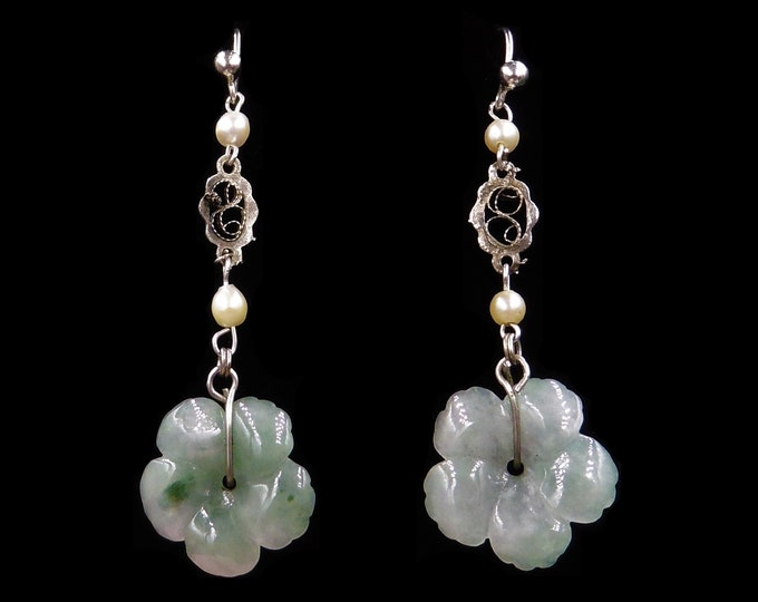 Art Deco Jade Jadeite Craved Flower and Pearl Long Sterling Silver Drop Dangle Earrings | Antique Vintage