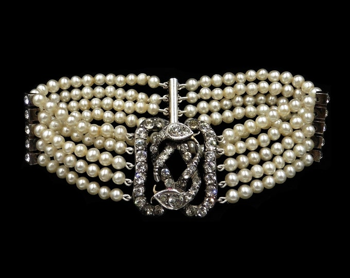 Antique Pearl and Paste Double Snake Serpent Multi-Row Sterling Silver Bracelet | Georgian Victorian | 7""