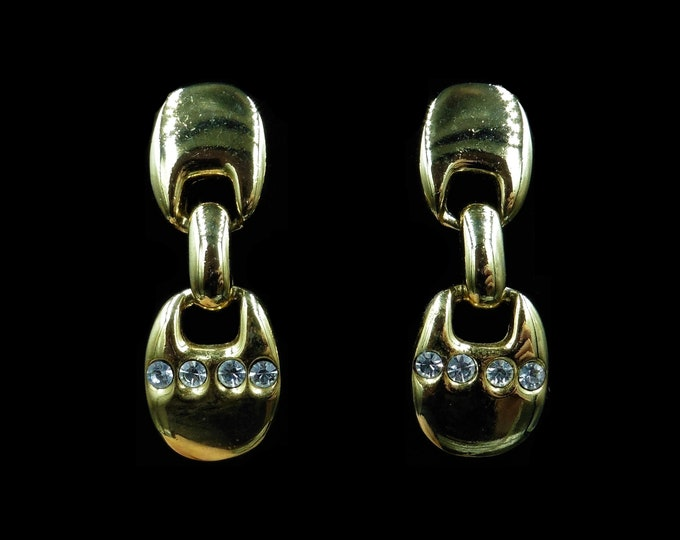 Vintage Gold Plate Drop Dangle Rhinestone Retro Earrings | Deco Style