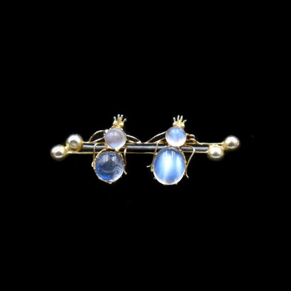 Antique Moonstone Double Bug Insect Gold Brooch Pi