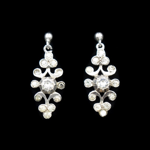Antique Paste Sterling Silver Drop Dangle Earrings