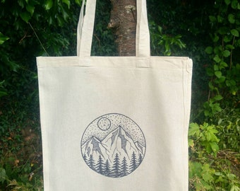 c306baed3cb8 Hand illustrated mountain eco friendly tote bag 100% cotton