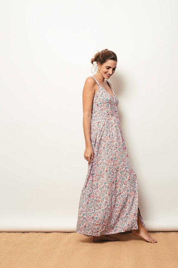 De Vestido Abotonado Abotonado Largo Vestido De Flores Flores Largo Vestido Largo N80kZnwOXP