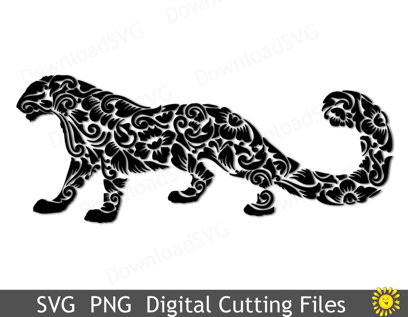 SVG and PNG cutting file template Snow Leopard ZOO Cricut Silhouette  Digital Home Party Decoration Vinyl Transfer Cards Scrapbooking 262VR